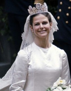 Queen Silvia of Sweden,wearing the Cameo Tiara. This tiara was later worn by heir to the Swedish Throne,Princess Victoria,on her Wedding Day.