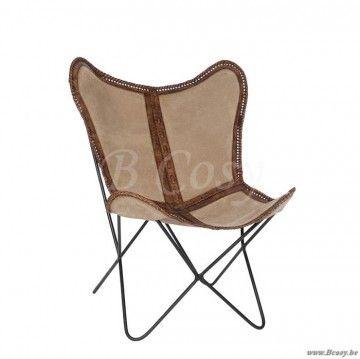 J-Line Vintage lounge vlinderstoel in bruin leder en canvas 70