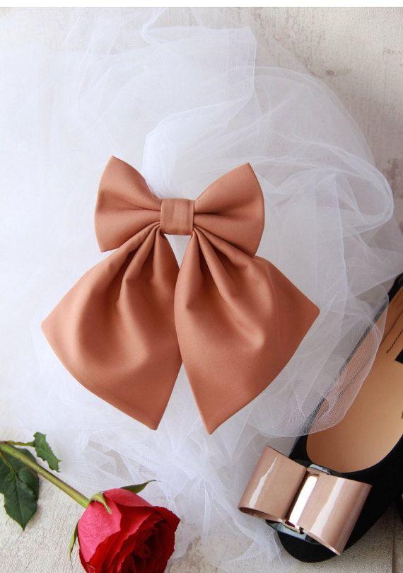 Camel / Brown Women's Bow Tie Genuine New Brooch by VaniaSzaszBows