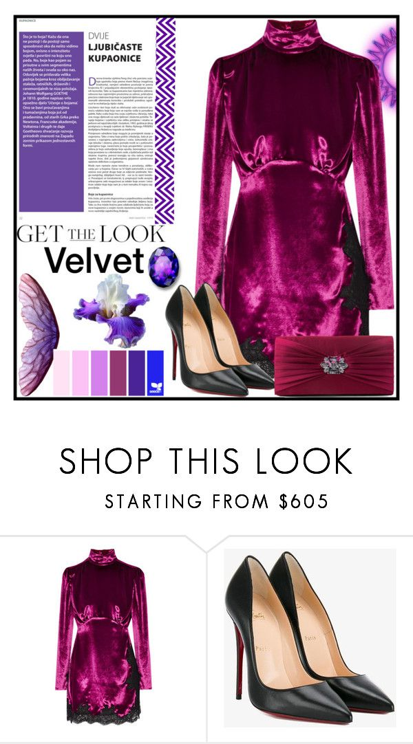 """Get The Look: Velvet"" by jeneric2015 ❤ liked on Polyvore featuring Alessandra Rich, Christian Louboutin, Gunne Sax By Jessica McClintock and GetTheLook"