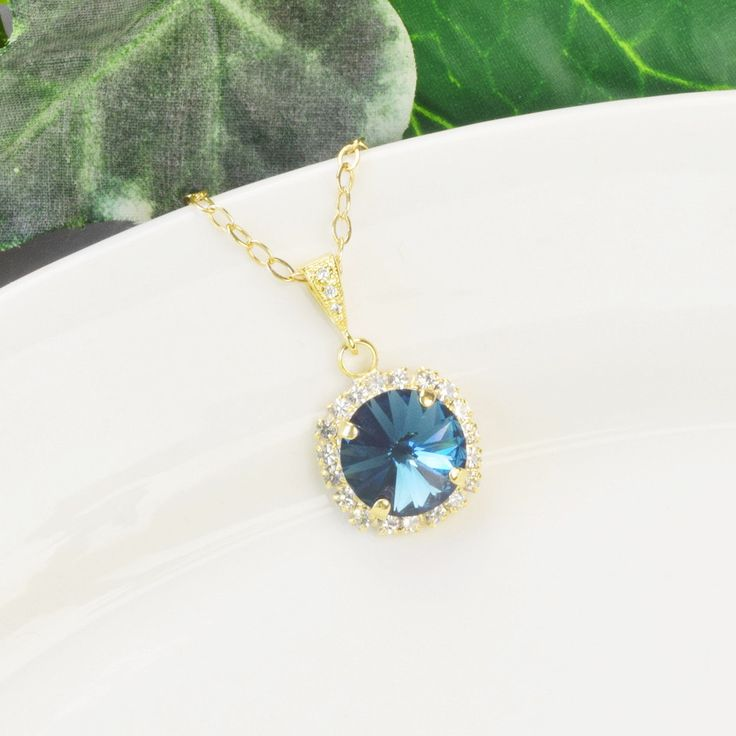 Navy Necklace - Gold Sapphire Blue Bridesmaid Necklace - Swarovski Crystal Pendant Necklace - Navy Bridesmaid Jewelry - Wedding - Bridal by MyDistinctDesigns on Etsy