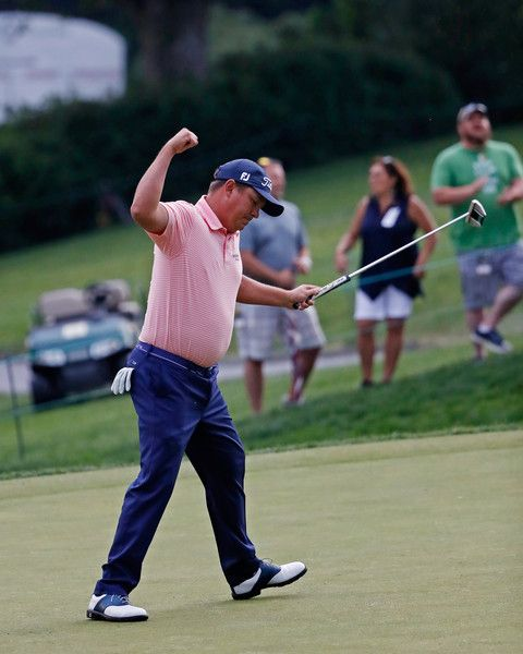 Jason Dufner Photos Photos - Jason Dufner reacts after making a par on the 18th hole during the final round of the Memorial Tournament at Muirfield Village Golf Club on June 4, 2017 in Dublin, Ohio. - The Memorial Tournament Presented By Nationwide - Final Round