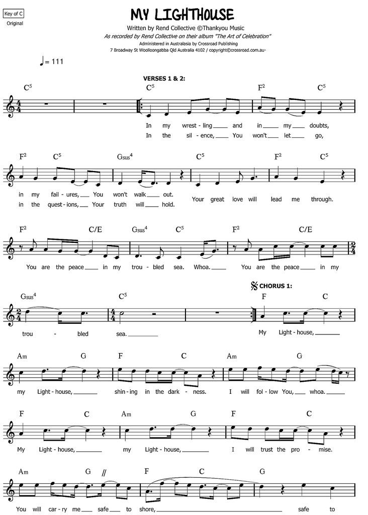 My Lighthouse | Rend Collective | sheet music PDF – WorshipScores