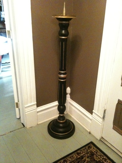 Tall wooden candle holders use a stand along lamp leg for for Used candle holders