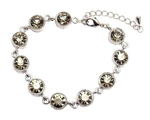 "Bracelet - Round CZ Crystal Link - Black Diamond (Gray/Grey) (FB207) Serenity Crystals, Inc.. $12.99. Made with Rhodium plating for a long lasting finish. Bracelet measures 7-1/2"" with 2"" extension. Super sparkly!. Made with round genuine cubic zirconia crystals. Save 52%!"