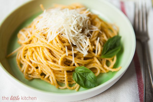 Spaghetti with Pesto Trapanese -- uses cherry tomatoes, so may be able ...