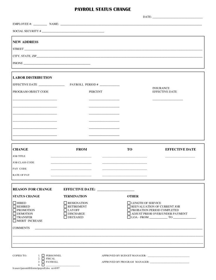 Employee Status Change Form Templates Raffle Tickets Template