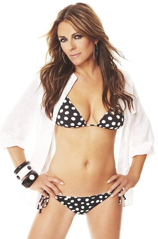 Elizabeth Hurley at age 46, modeling her own swim line. I'm not saying her body type is ideal for me, but I respect the fact that she looks this great at almost 50! Hope I do too :]