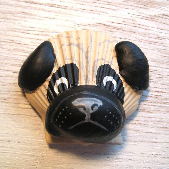 Pug magnet. Seashell black and tan pug magnet. by Lorishellart