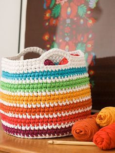 free pattern crochet t-shirt yarn storage basket mypoppet.com.au