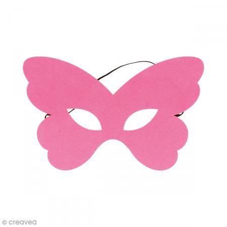 Máscara de fieltro - Mariposa rosa - Fotografía n°1