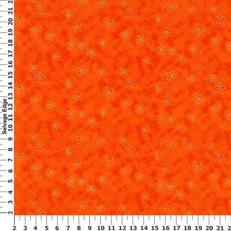 Blooms Orange Cotton Fabric