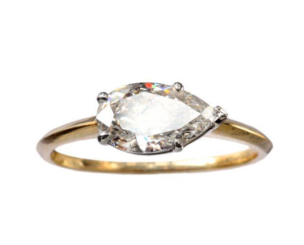 Erie Basin Pear Diamond Ring, Antique 1.11ct Pear Shaped Diamond, Platinum, 18K Yellow Gold, 2014: Erie Basin Antiques