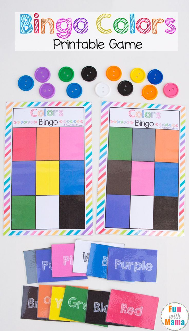 Color activities kindergarten - Printable Bingo Colors