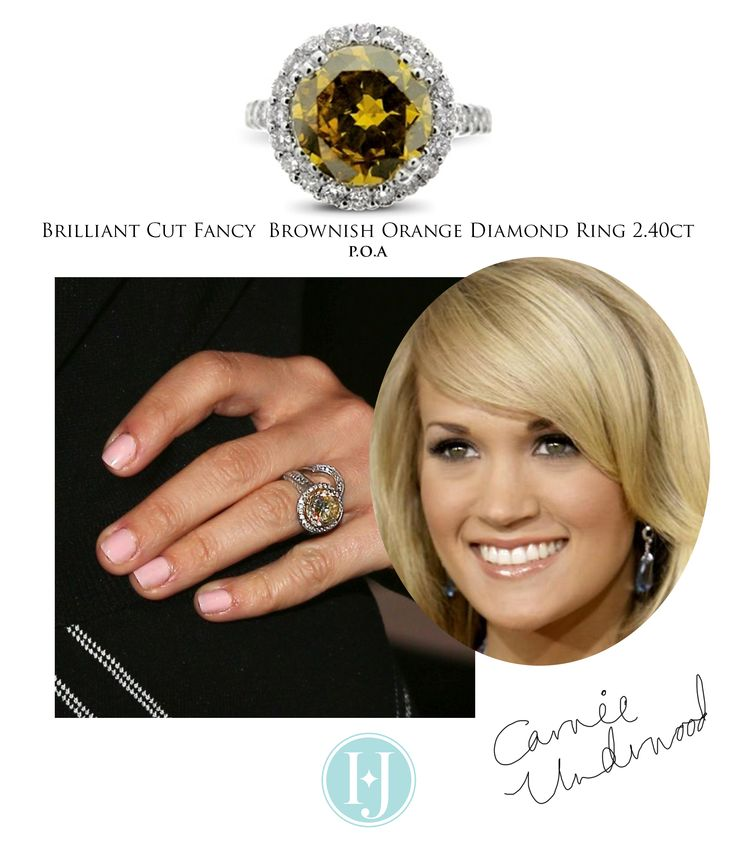 Go bold with this brownish - orange fancy diamond halo ring like Carrie - from Hatton Jewels.