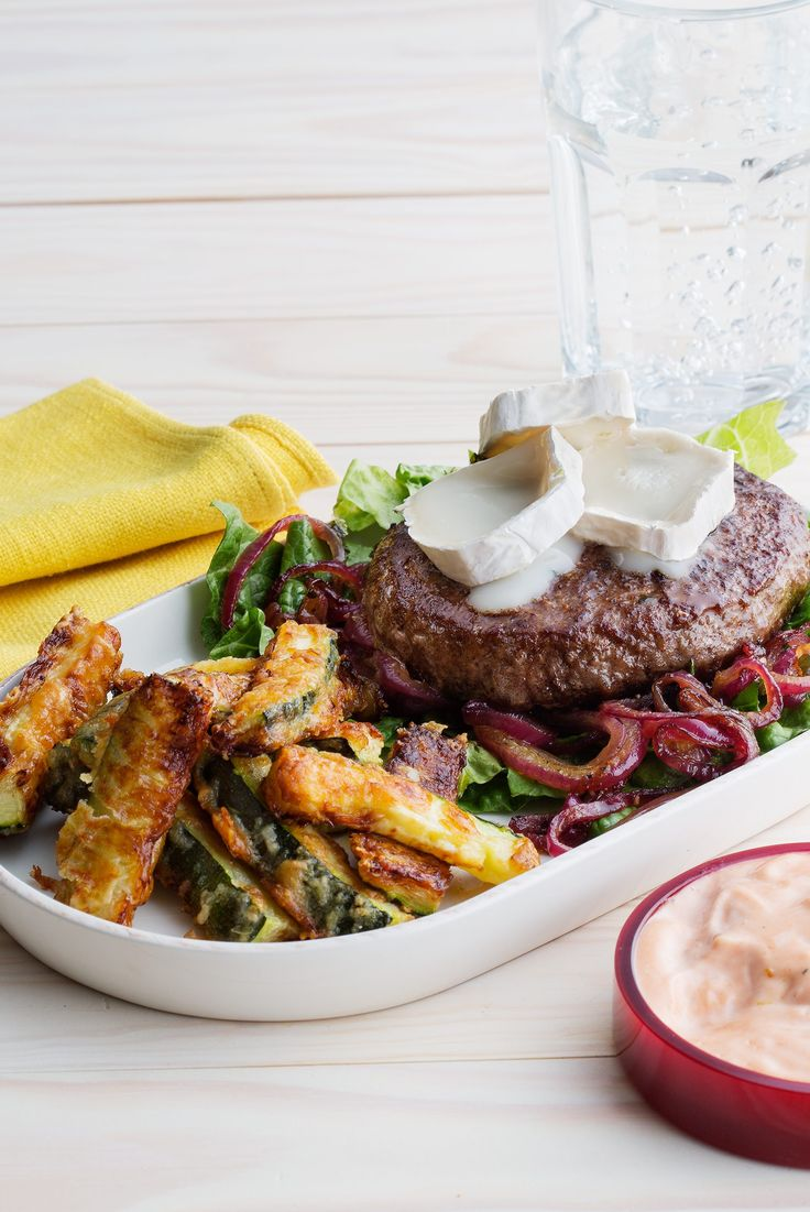 Goat Cheese Burger with Baked Zucchini Fries