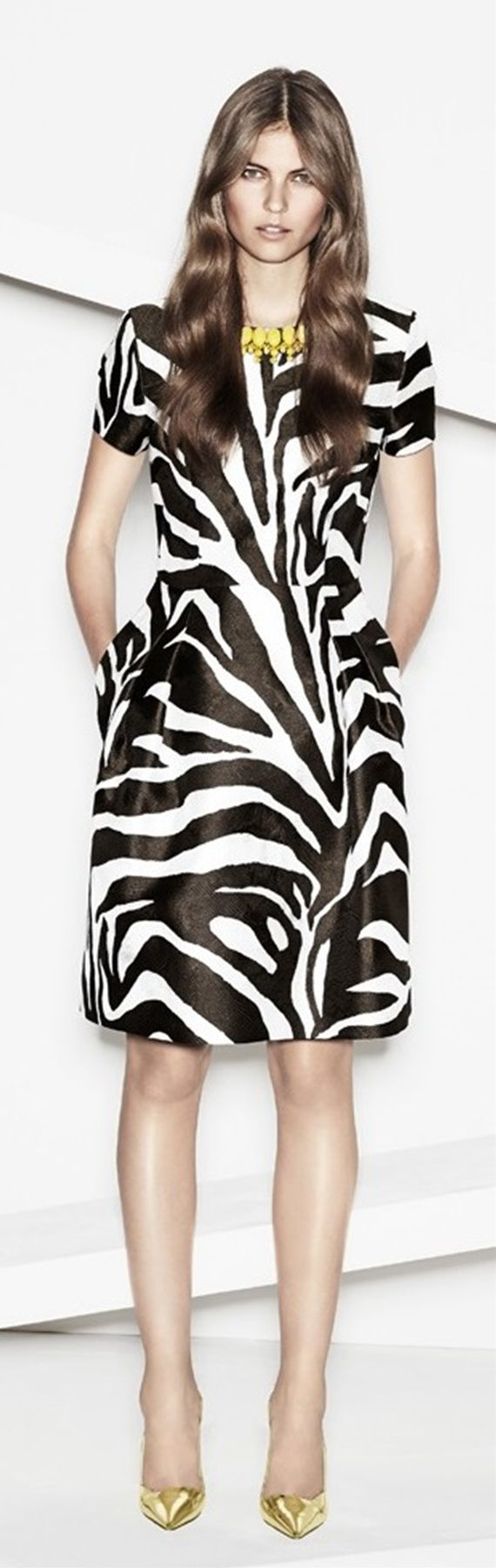 Idea to accessorize my zebra print dress differently than the usual red. Escada RTW Spring 2014