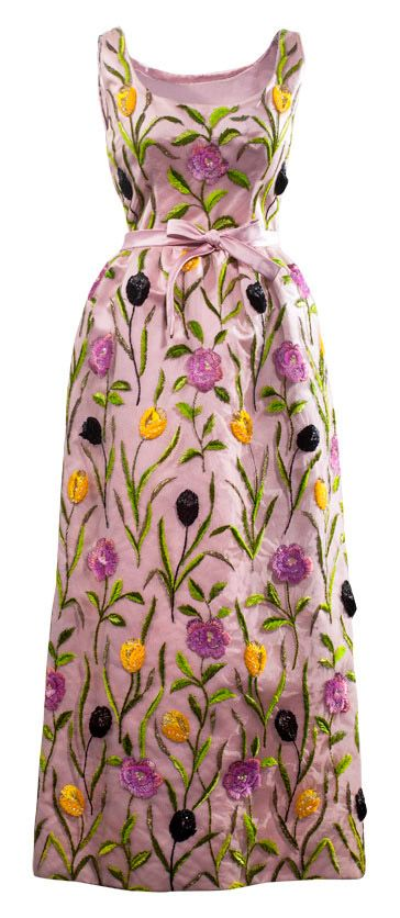 Balenciaga Paris, 1960. Déshabillé in yellow faille with floral-motif embroidery in purple chenille thread.