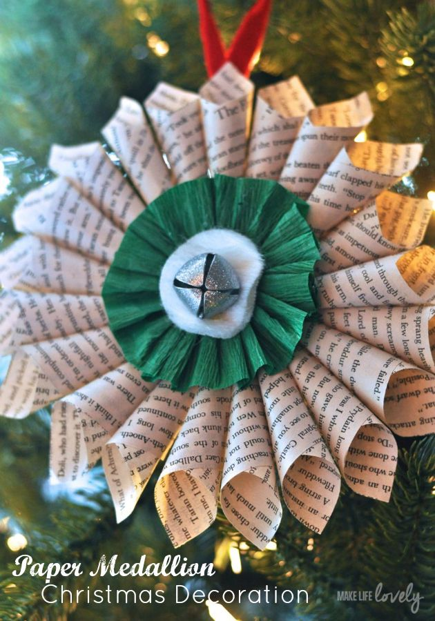 Paper medallion Christmas decoration tutorial.  I love the look of this!