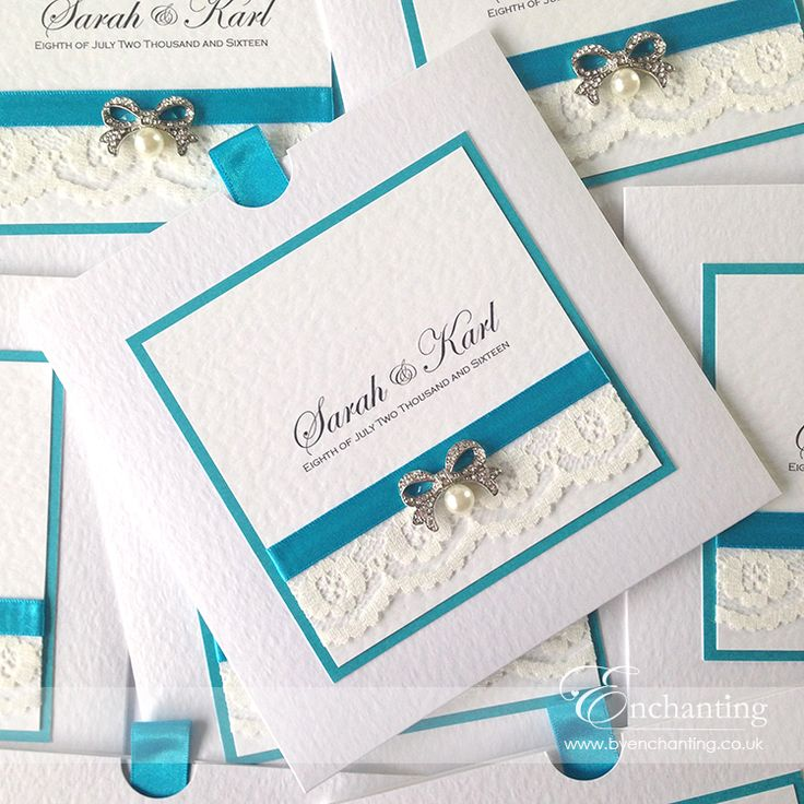 Teal Wedding Invitations | The Snow White Collection - Wallet Invitation | Featuring ivory lace, teal ribbon and diamanté and pearl bow embellishment | Luxury handmade wedding invitations and stationery #byenchanting