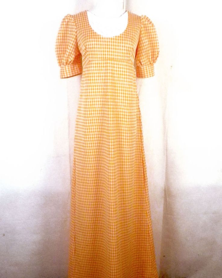 vtg 60s Hippie Boho Bright Orange Gingham Check Maxi Dress daisy floral SZ 34