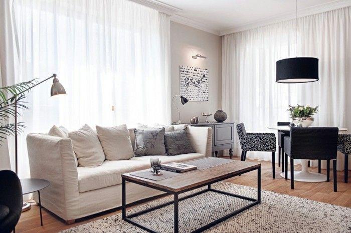 schönes wohnzimmer weißes sofa pflanzen offener wohnplan Salon - pflanzen für wohnzimmer