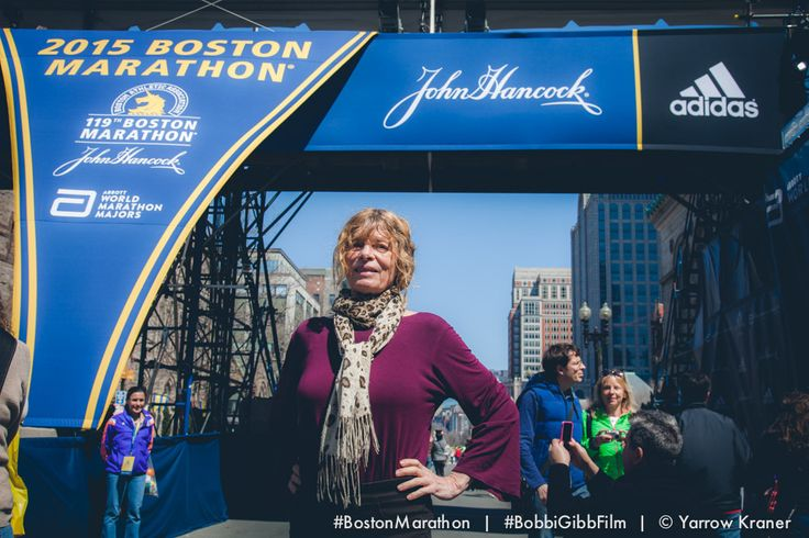 Bobbi Gibb at the site of the 2015 Boston Marathon/ Yarrow Kraner.