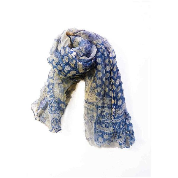 Vintage Gossamer IDEA NUOVA Rayon Neck Scarf in Ivory White and Blue... (£16) ❤ liked on Polyvore featuring accessories and scarves