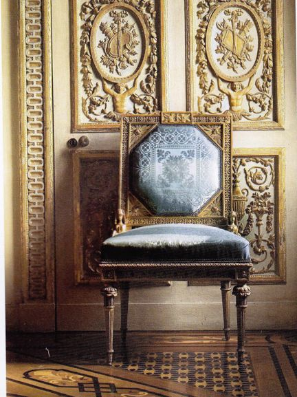 """Neoclassical giltwood chair. Image from """"World of Interiors"""" April 2007"""
