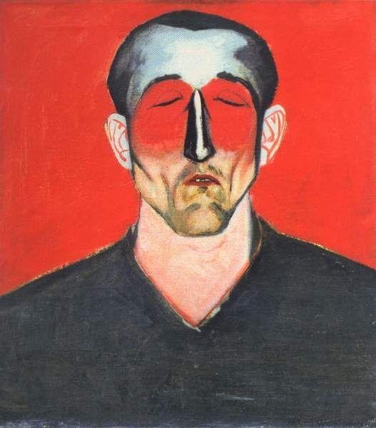 Andrzej Wróblewski, Man's Head on Red Background, 1957