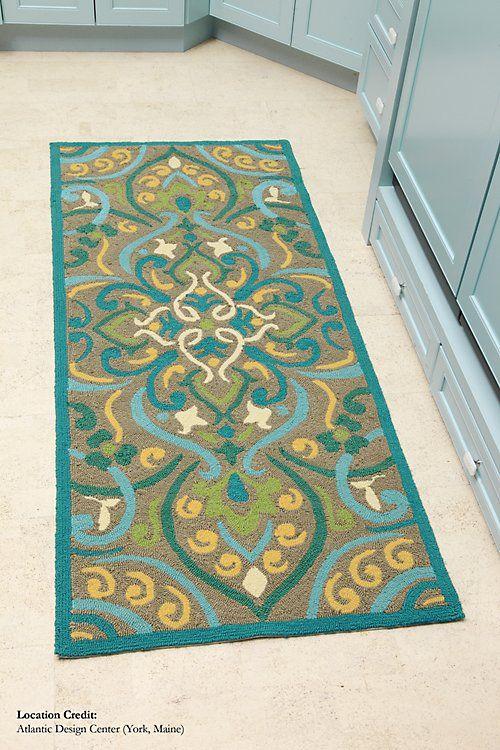 Morocco ColorSpree Rug In Aqua Floral Pattern Outdoor Rugs