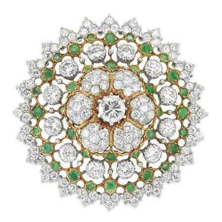 Two-Color Gold, Diamond and Emerald Pendant-Brooch, Gianmaria Buccellati