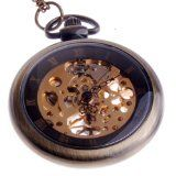 Hand Wind #Mechanical Skeleton Pocket #Watch Roman Numerals Unisex #Vintage Style With Chain $24.50