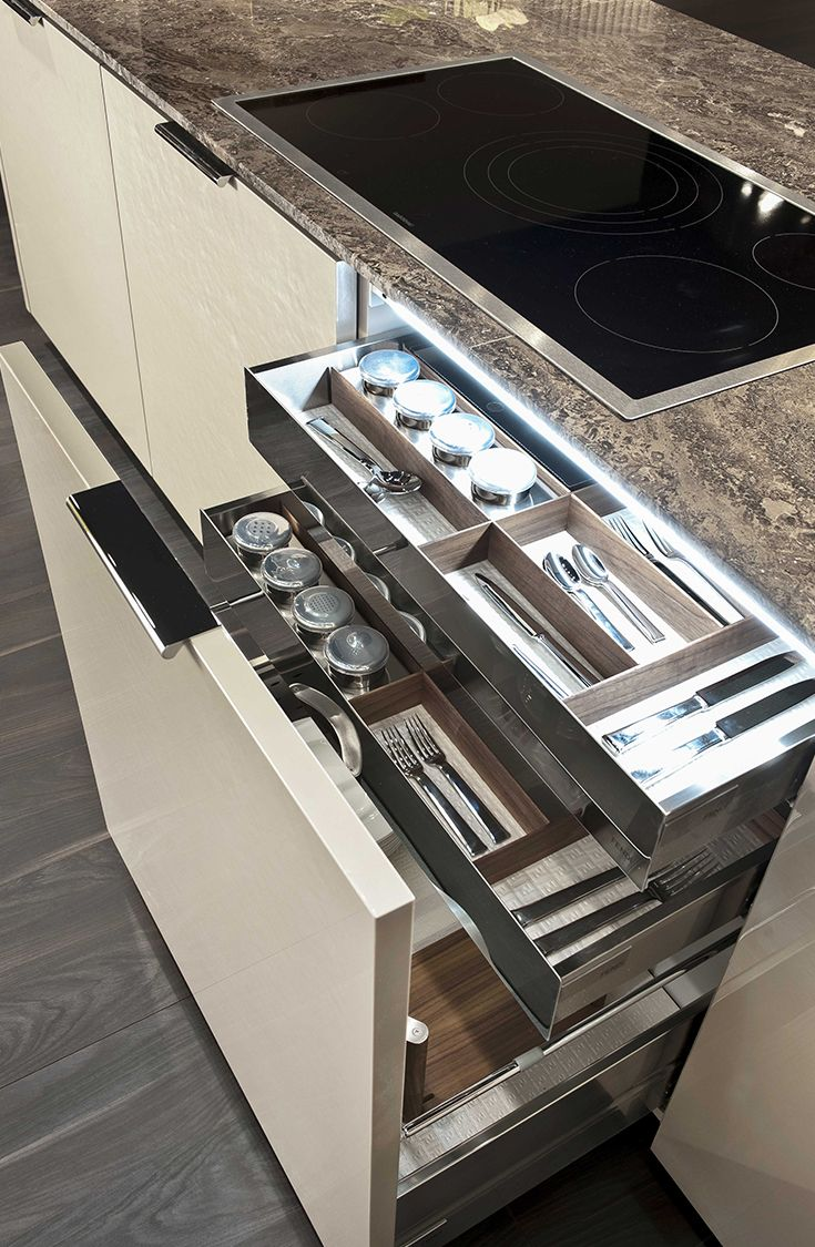 Drawer detail at Villa Ada by Fendi Casa Ambiente Cucina, September 2014 edition, Luxury Living Group #kitchen #cutlery