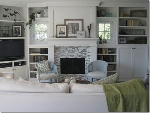 white living room built in cabinets - Google Search