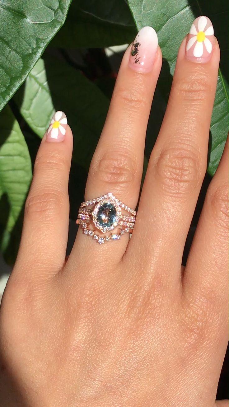 Aquamarine Bridal Rings Stack by La More Design