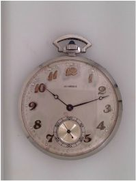 Platinum Agassiz pocket watch with diamond edge *click for link or to request pricing #pocketwatch #santabarbarajewelry #agassiz #platinum #watch