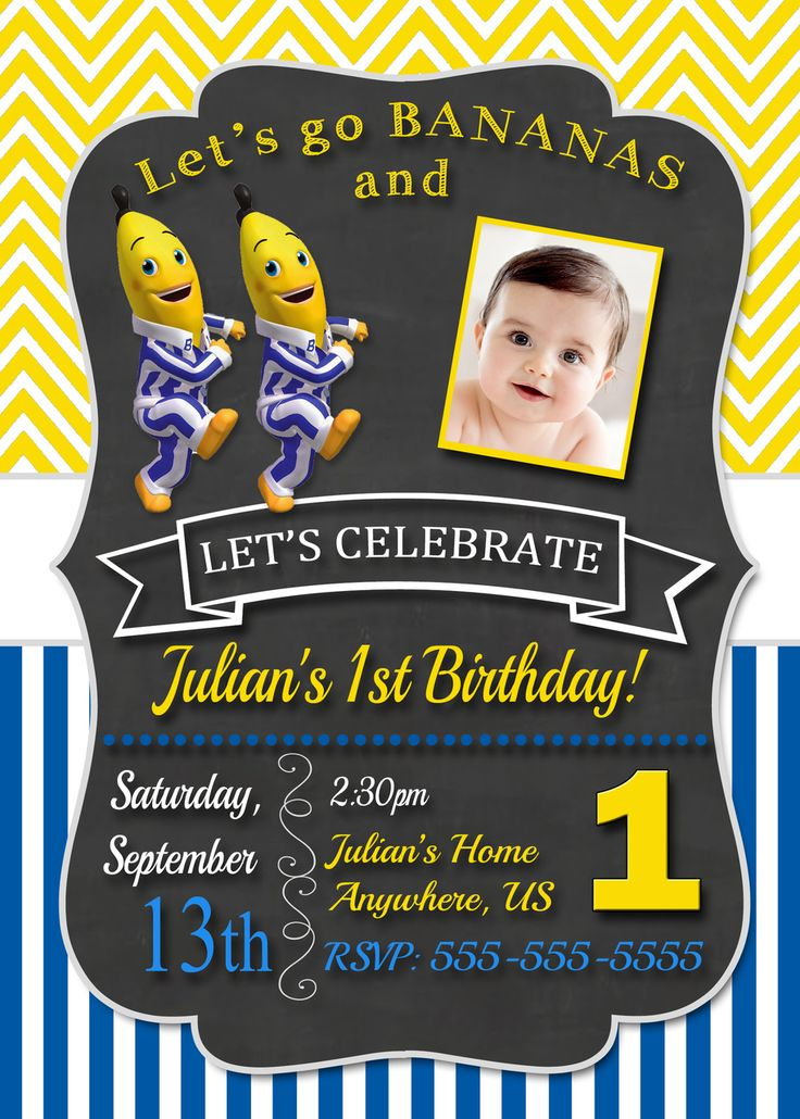 partyexpressinvitations - Chalkboard Bananas in Pyjamas Birthday Invitation…