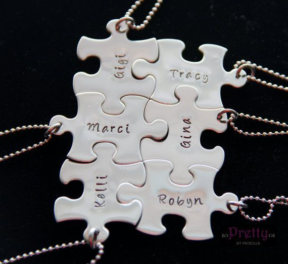 Unique Personalized Christmas Gift for Friends - Puzzle Piece Necklaces by PrettyByPriscilla