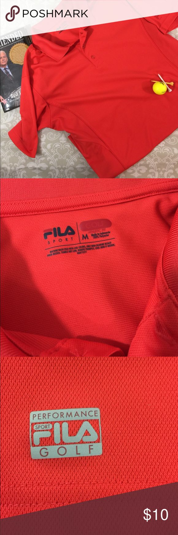 FILA Golf Shirt  Size M This is a gorgeous coral color FILA golf shirt.  Like new condition. Size M. Bundle your likes for a private discount!   Thank you for shopping my closet.  😊 Fila Shirts Polos