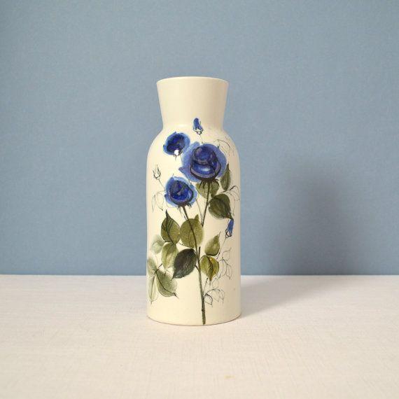 Vintage Arabia of Finland Faience Floral Vase by Hilkka-Liisa Ahola