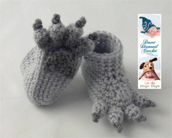Crochet patrones 074 Lobo Pata botitas de bebé por desertdiamond