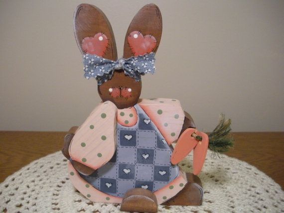 Wooden Brown Bunny in Pink and Blue Dress by woodubelieve on Etsy