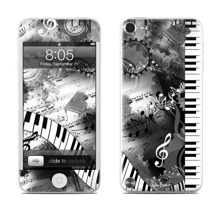 Piano Pizazz design by Juleez seen here on an iPod Touch 5G Skin Kit with matching screen wallpaper graphic