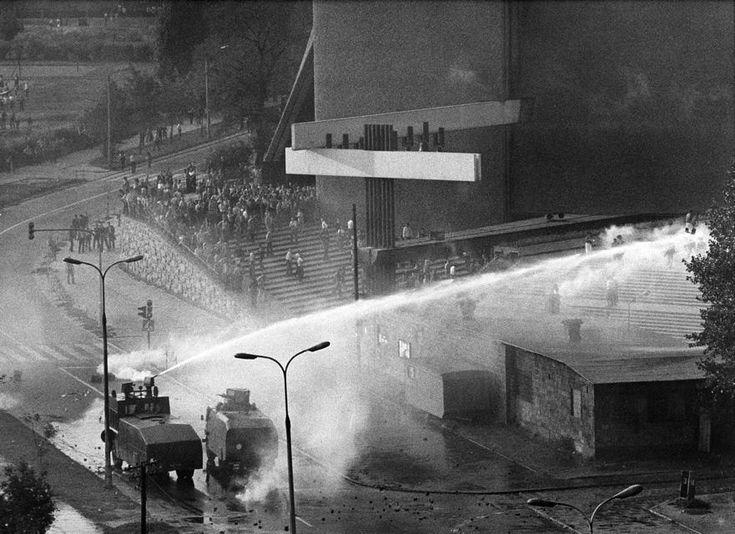 Anti-communist demonstrations in Nowa Huta district of Kraków, Poland,  1982