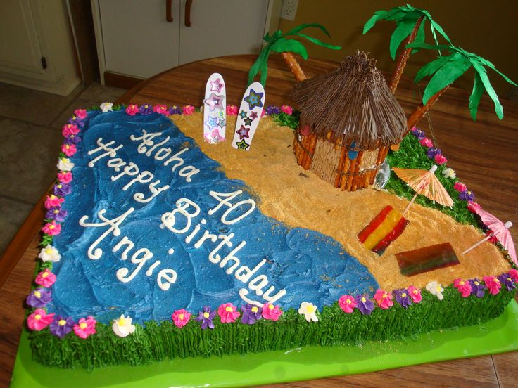 40th Birthday Luau Cake - Raspberry swirl cake with buttercream frosting. Tiki Hut was made with honey buns as the base, covered with buttercream and pretzels. Roof was made using grass tip. Jelly beans were used for lanterns around the hut. Sand is crushed graham crackers.