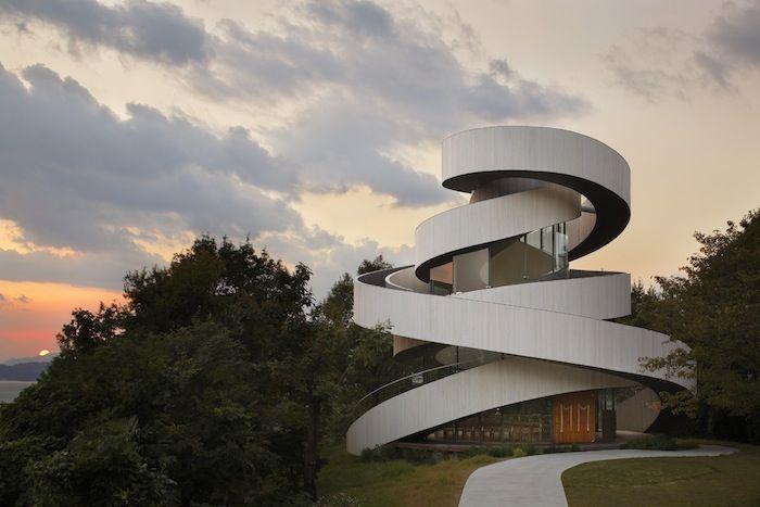 Japanese Practice Hiroshi Nakamura and NAP Co Designs a Spiraling Ribbon Chapel - http://www.interiorredesignseminar.com/interior-design-ideas/japanese-practice-hiroshi-nakamura-and-nap-co-designs-a-spiraling-ribbon-chapel/