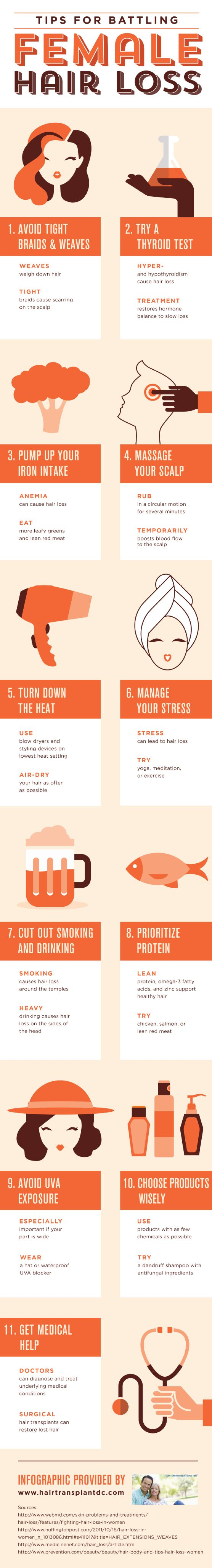 Heat damages hair, potentially leading to hair loss. Use blow dryers and styling devices on the lowest heat settings and air-dry your hair as often as possible. Find other hair-saving tips by viewing this infographic about female hair loss causes.