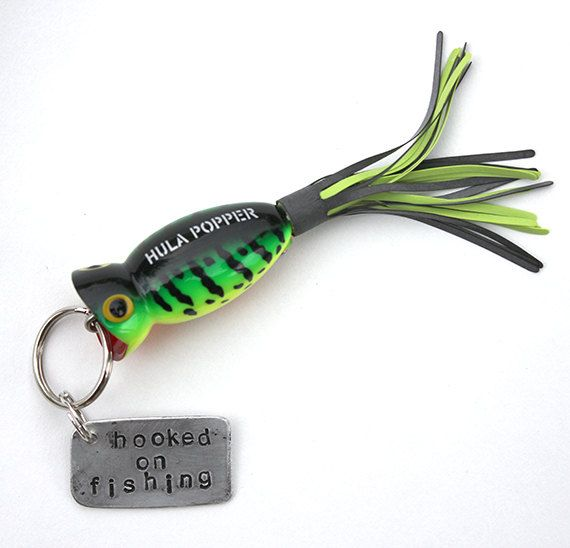 stamped metal fishing lure keychain by monkeyhouseshop