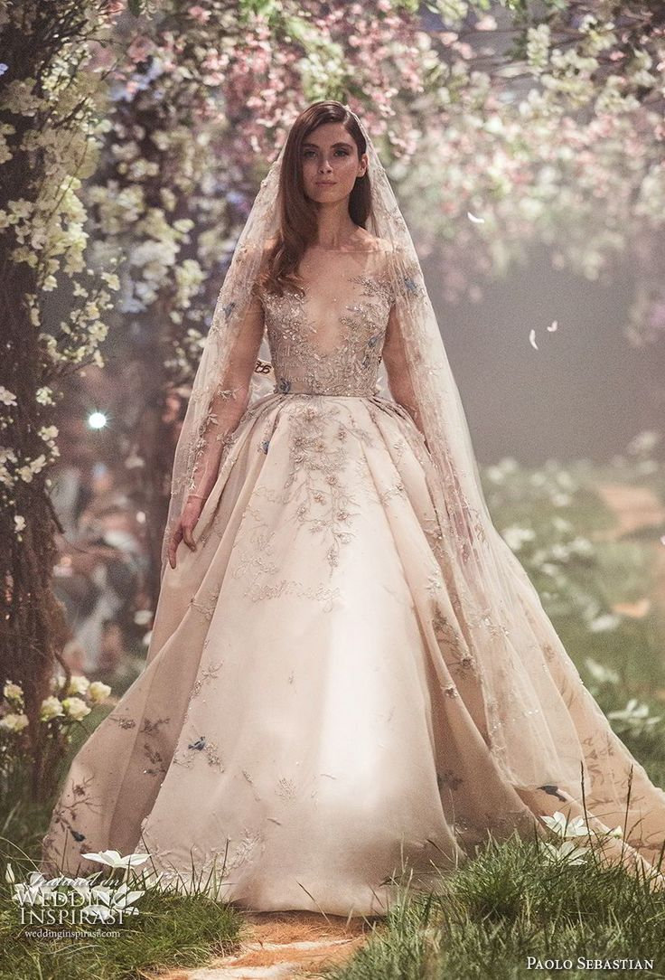 paolo sebastian spring 2018 couture long sleeves illusion jewel v neck heavily embellished bodice princess blush color ball gown a line wedding dress (1) mv -- Paolo Sebastian Spring 2018 Couture Collection